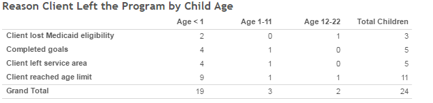Reason Client Left the Program by Child Age
