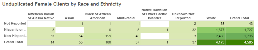 Unduplicated Female Clients by Race and Ethnicity