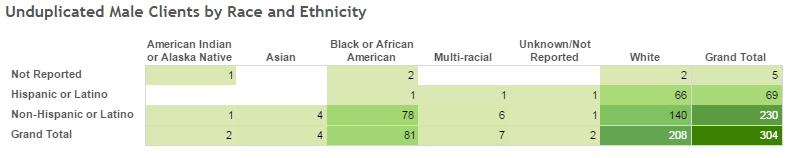 Unduplicated Male Clients by Race and Ethnicity